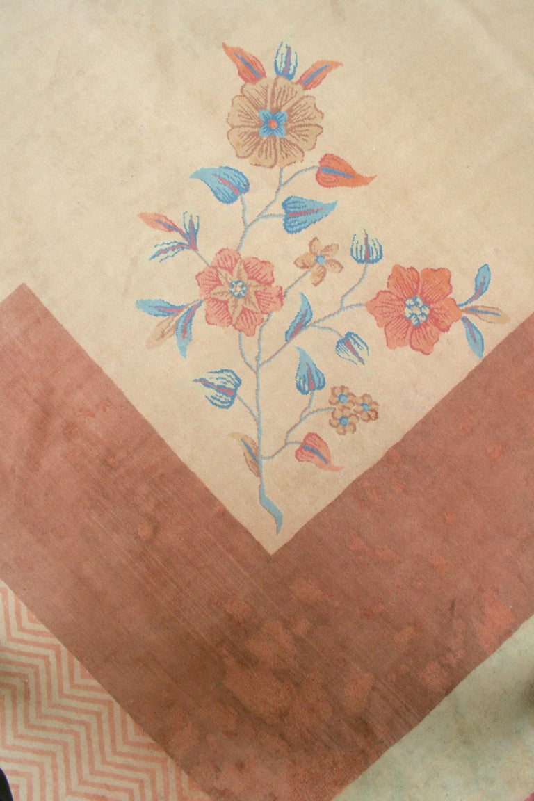 Oversize Antique Art Deco Geometric Rug in the Da Silva Bruhns Style, 1920's In Good Condition For Sale In Milan, IT