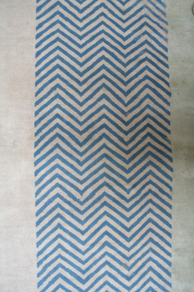 Wool Oversize Antique Art Deco Geometric Rug in the Da Silva Bruhns Style, 1920's For Sale