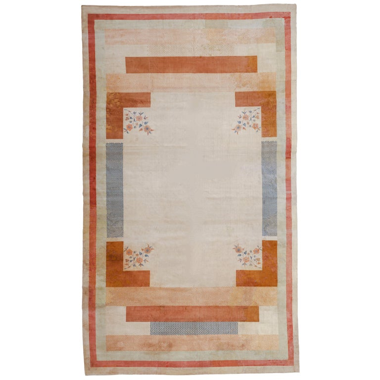 Oversize Antique Art Deco Geometric Rug in the Da Silva Bruhns Style, 1920's For Sale