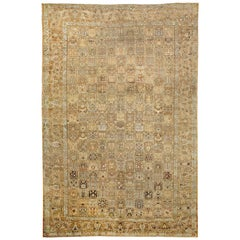 Oversize Antique Persian Bakhtiar Rug with Brown and White Botanical Details
