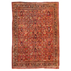 Oversize Antique Persian Red Gold Floral Mahal Ziegler Large Area Rug, c. 1930s