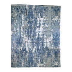 Oversize Blue-Gray Abstract Design Wool and Pure Silk Handmade Rug