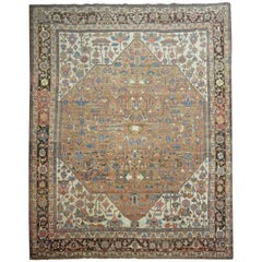 Oversize Brown Color Antique Persian Heriz Serapi Rug