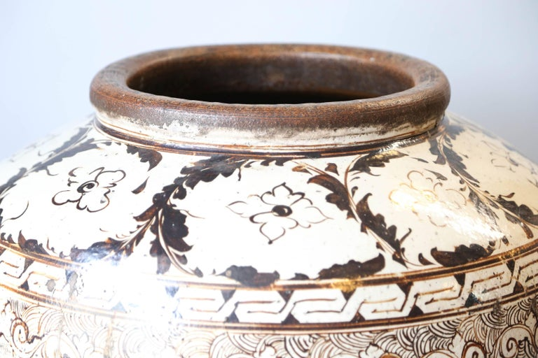 18th Century and Earlier Over sized Chinese Ming Dynasty Cizhou Ware Ceramic Jar For Sale