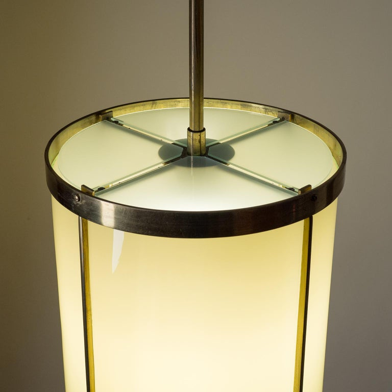 Oversize Drum Lantern, 1930s, Sand-Colored Glass and Brass For Sale 4