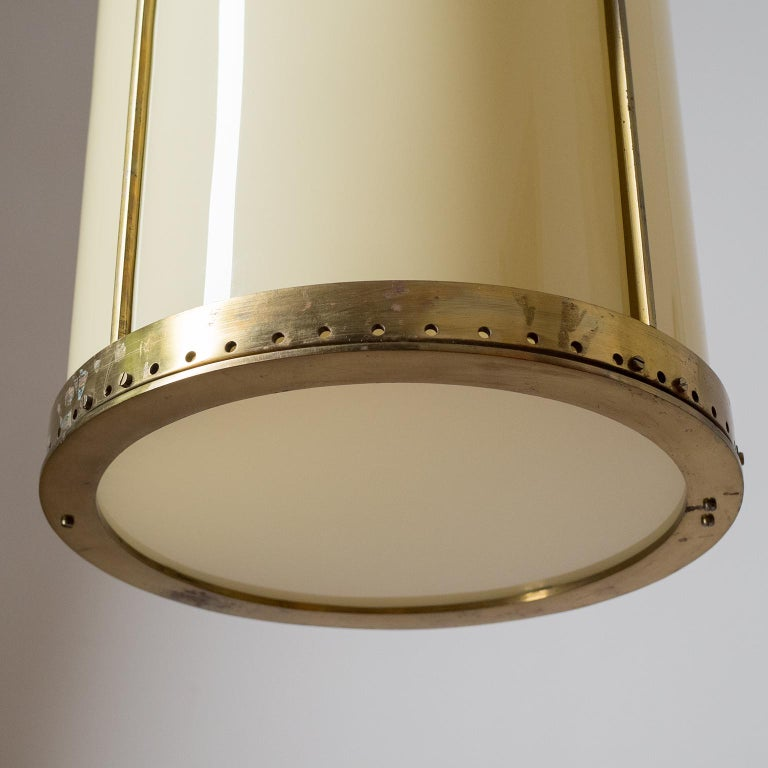 Oversize Drum Lantern, 1930s, Sand-Colored Glass and Brass For Sale 6