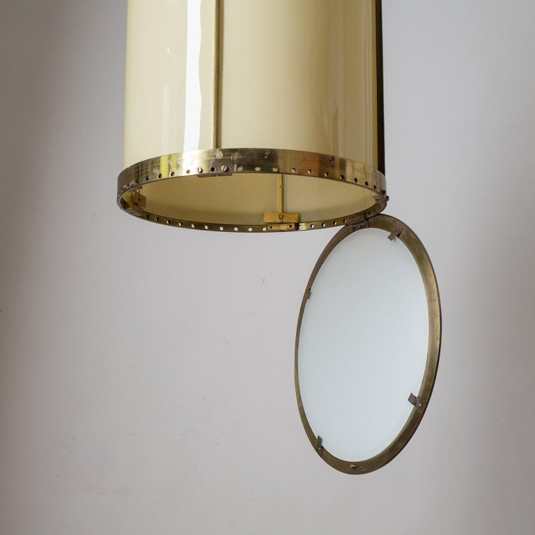 Oversize Drum Lantern, 1930s, Sand-Colored Glass and Brass For Sale 7
