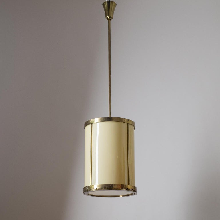 Oversize Drum Lantern, 1930s, Sand-Colored Glass and Brass For Sale 8