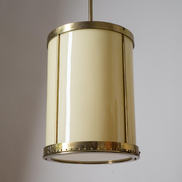 Oversize Drum Lantern, 1930s, Sand-Colored Glass and Brass For Sale 9