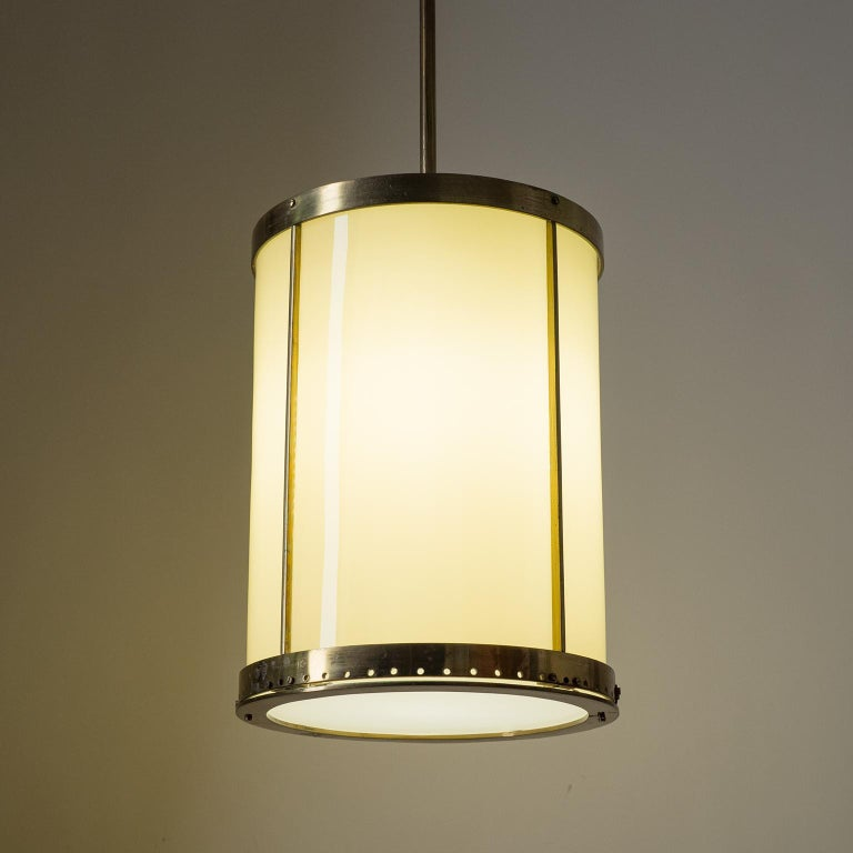 Oversize Drum Lantern, 1930s, Sand-Colored Glass and Brass For Sale 10