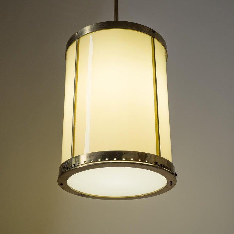 Art Deco Oversize Drum Lantern, 1930s, Sand-Colored Glass and Brass For Sale