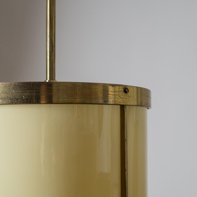 German Oversize Drum Lantern, 1930s, Sand-Colored Glass and Brass For Sale
