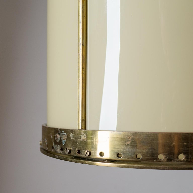 Oversize Drum Lantern, 1930s, Sand-Colored Glass and Brass In Good Condition For Sale In Vienna, AT