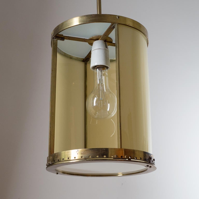 Mid-20th Century Oversize Drum Lantern, 1930s, Sand-Colored Glass and Brass For Sale