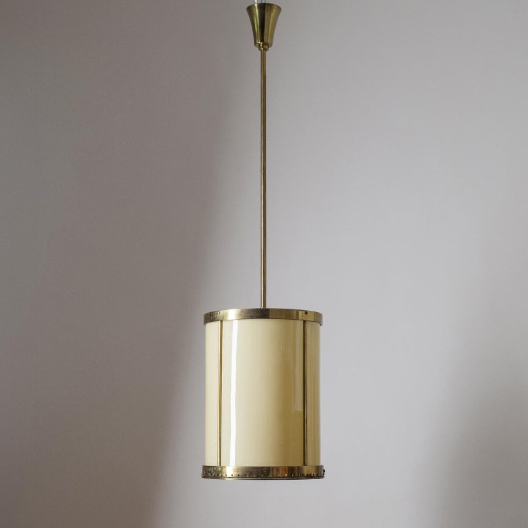 Oversize Drum Lantern, 1930s, Sand-Colored Glass and Brass For Sale 2