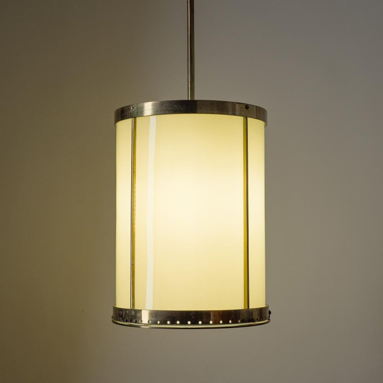 Oversize Drum Lantern, 1930s, Sand-Colored Glass and Brass For Sale 3
