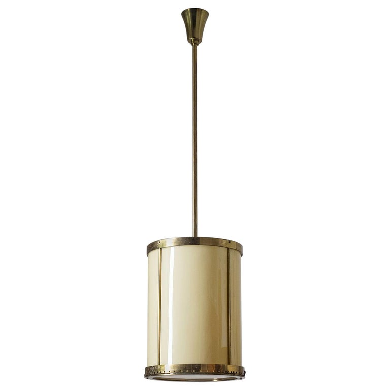Oversize Drum Lantern, 1930s, Sand-Colored Glass and Brass For Sale