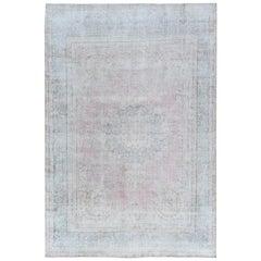 Oversize Faded Vintage Light Pink Persian Kerman Wool Worn Down Clean Rug