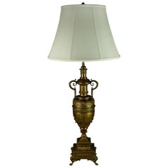 Oversize French Neoclassical Bronze Figural Urn Form Table Lamp, 2-Socket