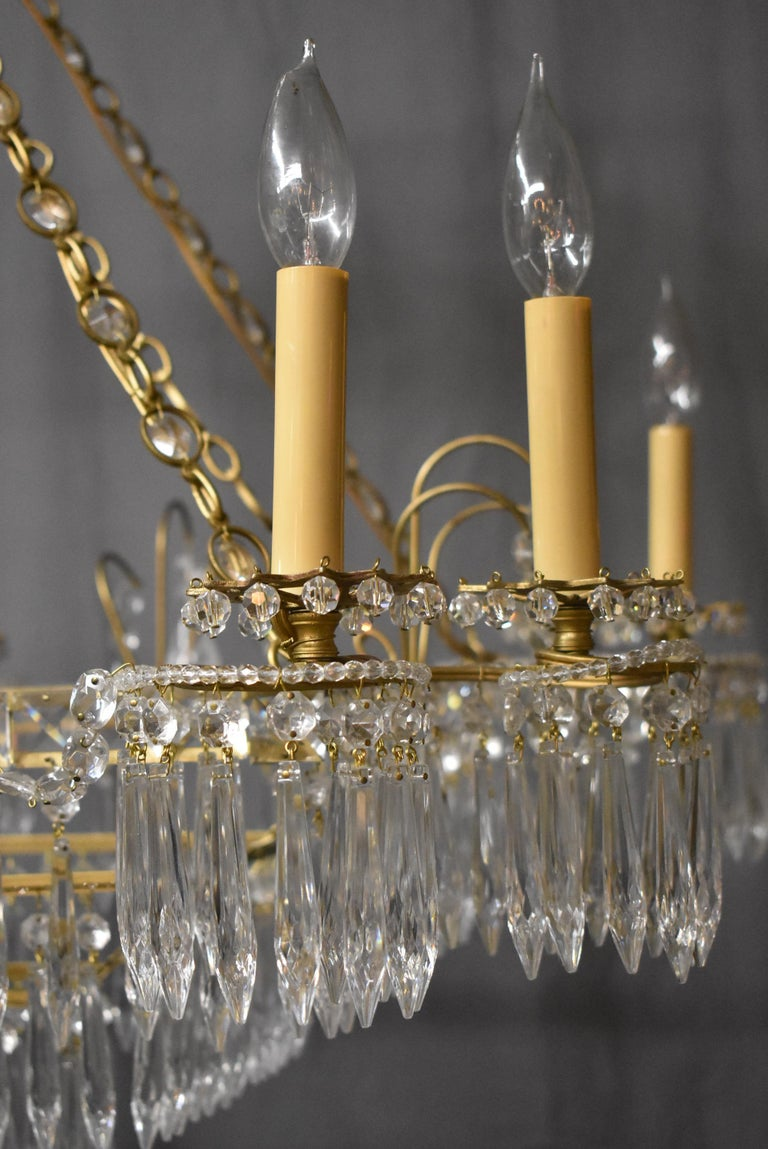 Louis XVI Oversize French Style Crystal and Brass Chandelier For Sale