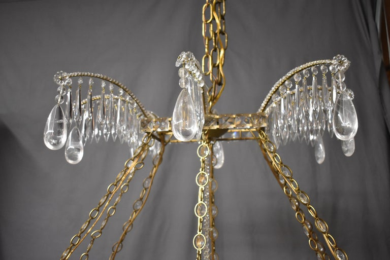 Oversize French Style Crystal and Brass Chandelier In Good Condition For Sale In Toledo, OH