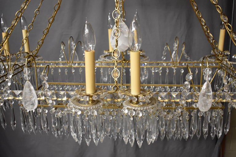 20th Century Oversize French Style Crystal and Brass Chandelier For Sale