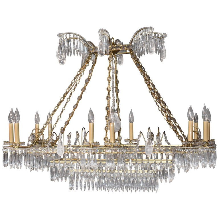 Oversize French Style Crystal and Brass Chandelier For Sale