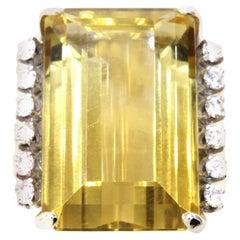 Oversize Golden Citrine Diamond Gold Ring