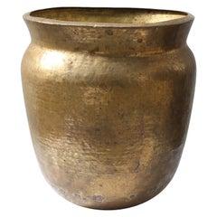 Oversize Hammered Brass Pot