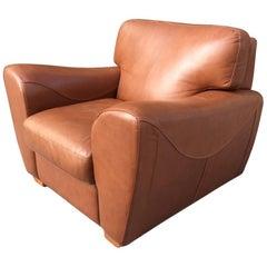 Oversize Italian Leather Club Chair