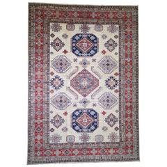 Oversize Ivory Super Kazak Pure Wool Hand Knotted Oriental Rug