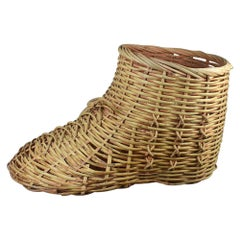 Whimsical Oversize Large Woven Rattan Wicker Shoe Themed Toy Basket