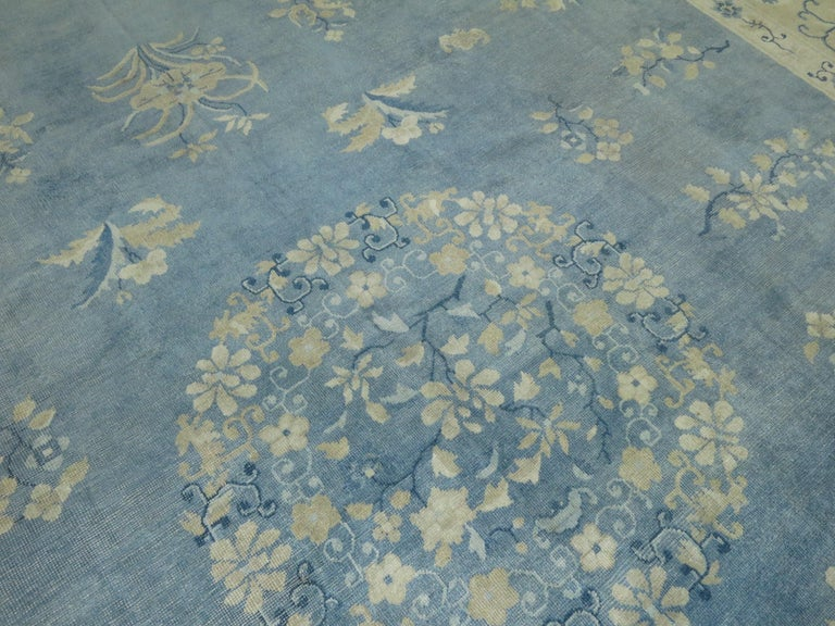 Oversize Light Blue Antique Chinese Rug For Sale 3