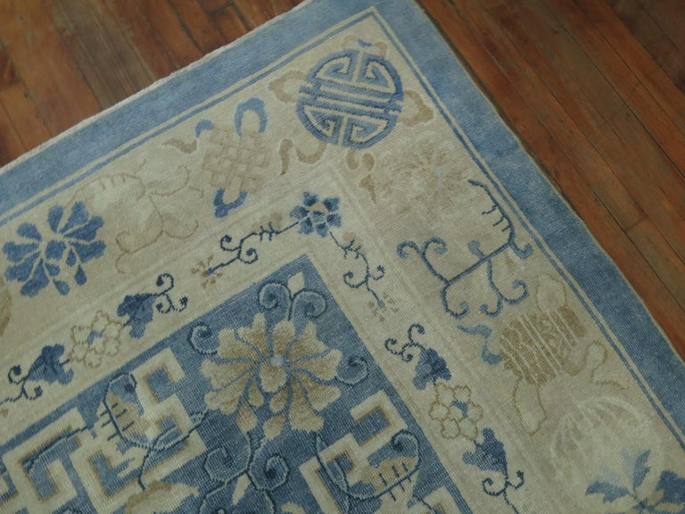 Oversize Light Blue Antique Chinese Rug For Sale 4
