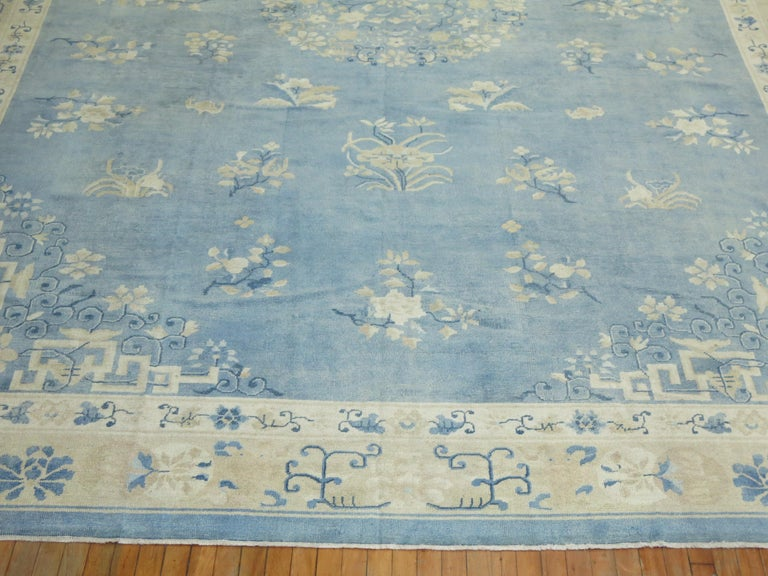 Oversize Light Blue Antique Chinese Rug For Sale 5
