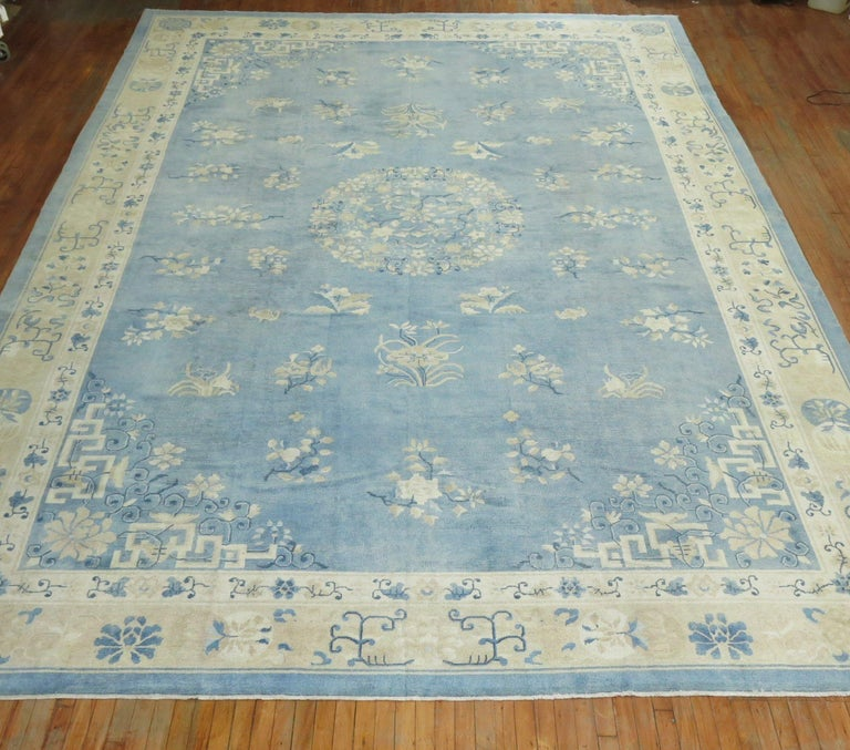 An early 20th century oversize size one of a kind Chinese rug in various predominant light blues and creams. The wool and feel of the rug is very soft on the feet. It has a silky sheen to it as well. Wool on cotton foundation.