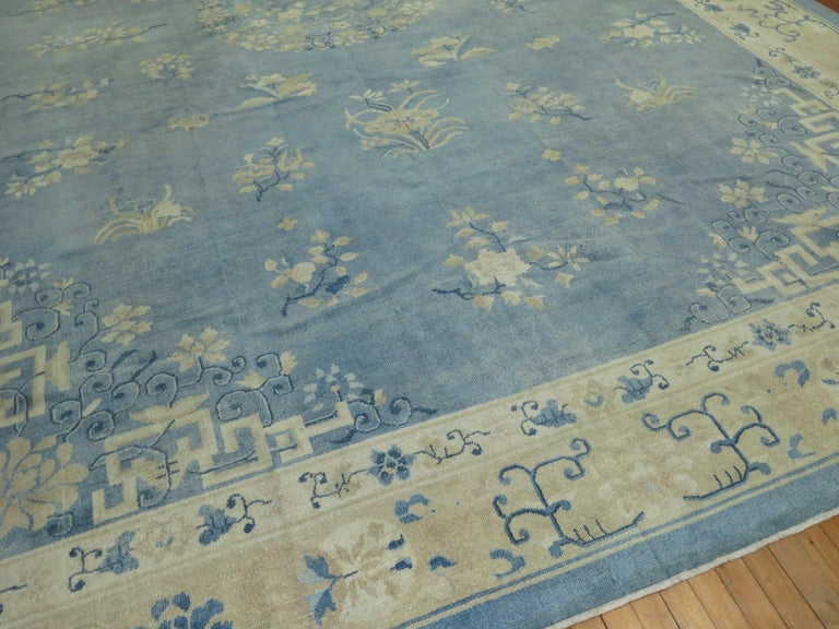 Mid-Century Modern Oversize Light Blue Antique Chinese Rug For Sale
