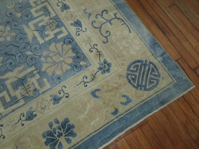 Hand-Woven Oversize Light Blue Antique Chinese Rug For Sale