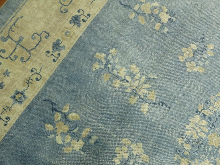 Oversize Light Blue Antique Chinese Rug In Good Condition For Sale In New York, NY