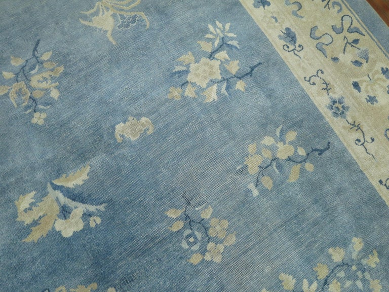 20th Century Oversize Light Blue Antique Chinese Rug For Sale