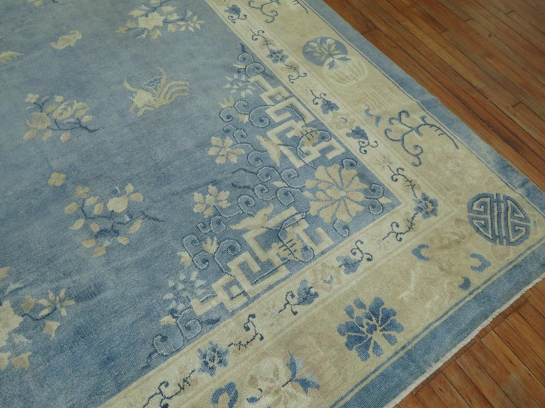 Wool Oversize Light Blue Antique Chinese Rug For Sale