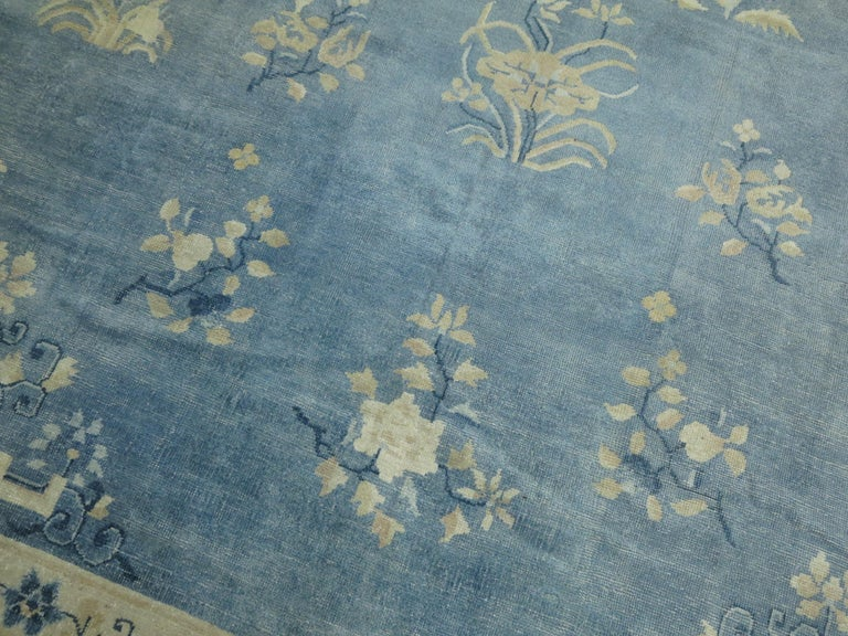 Oversize Light Blue Antique Chinese Rug For Sale 1