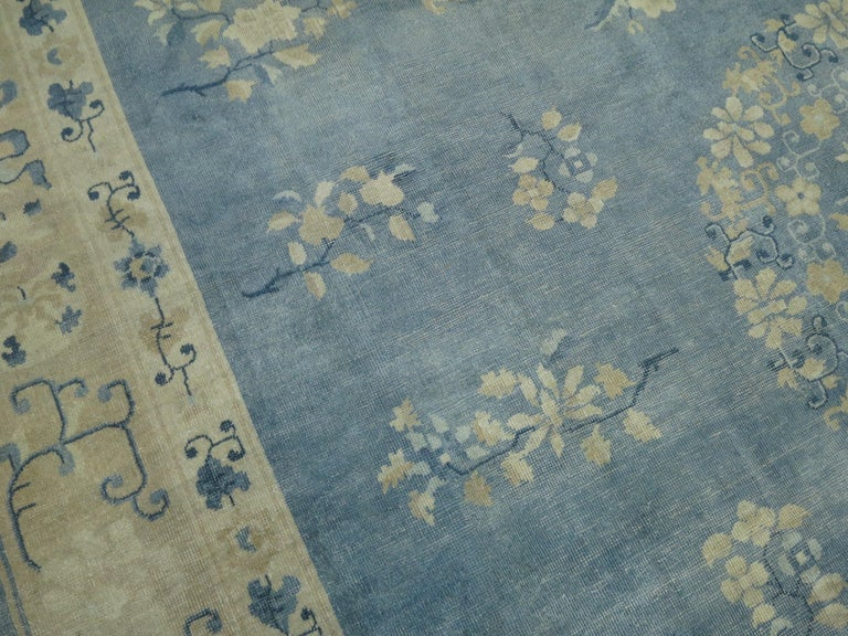 Oversize Light Blue Antique Chinese Rug For Sale 2