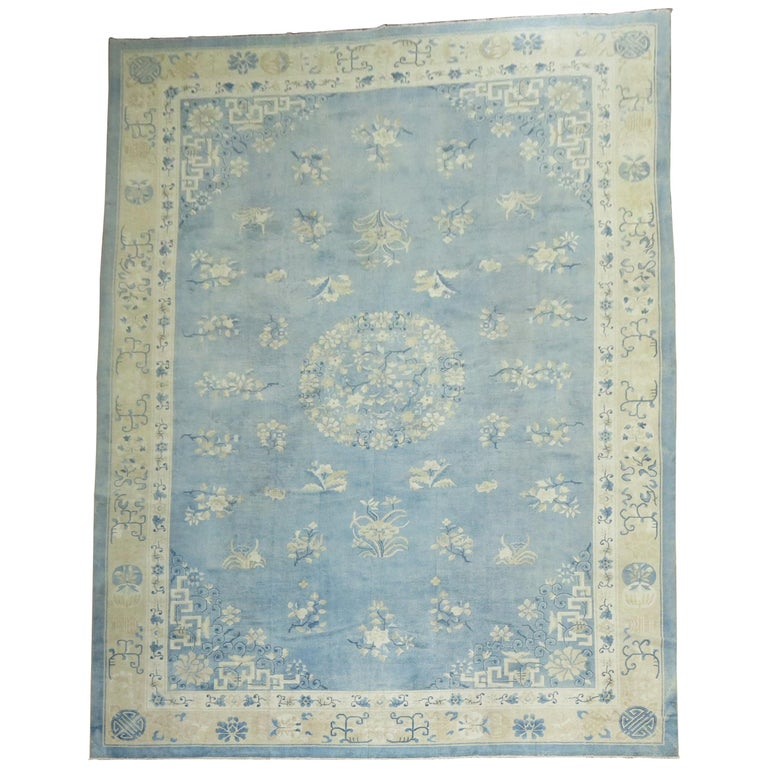 Oversize Light Blue Antique Chinese Rug For Sale