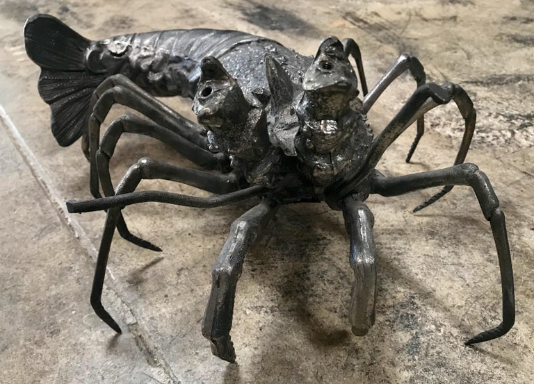 Oversize Lobster Sculpture in Pewter, Made in Florence, Italy for Teghini, 1970s In Excellent Condition For Sale In Los Angeles, CA