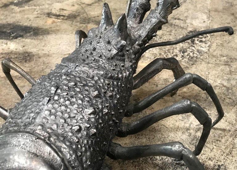 Oversize Lobster Sculpture in Pewter, Made in Florence, Italy for Teghini, 1970s For Sale 2