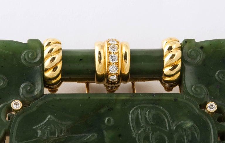 Women's or Men's Oversize Nephrite Jade Clip Şet in 18 Karat Yellow Gold For Sale