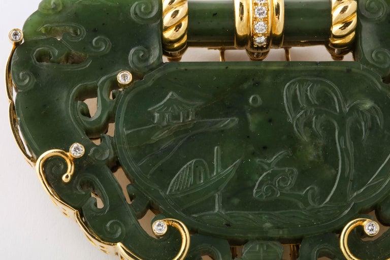 Oversize Nephrite Jade Clip Şet in 18 Karat Yellow Gold For Sale 1