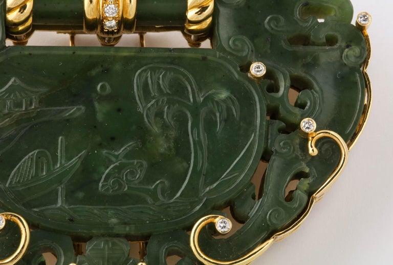 Oversize Nephrite Jade Clip Şet in 18 Karat Yellow Gold For Sale 2