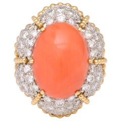Oversize Orange Coral and Pave Diamond Ring